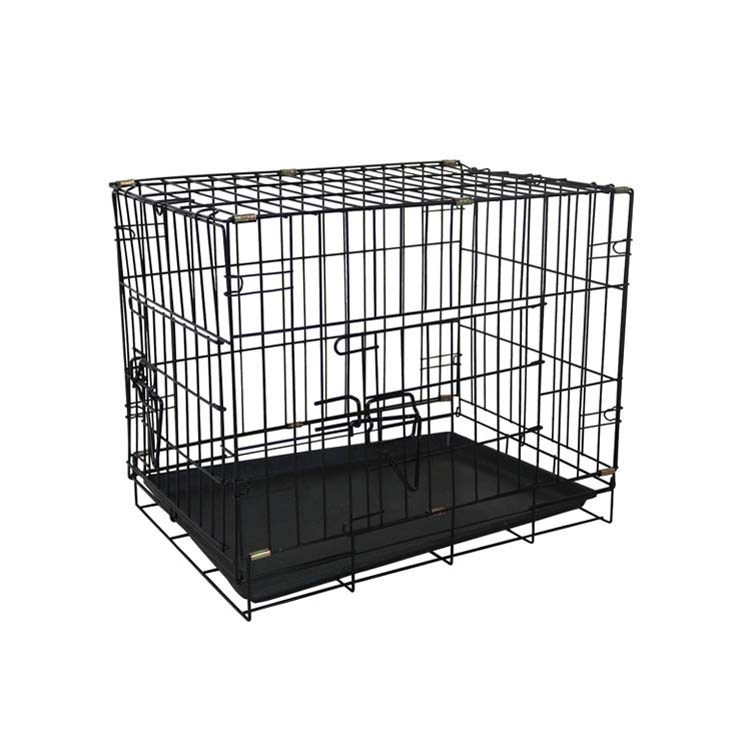 2018 newest collapsible metal pet dog cage with plastic tray MHD001