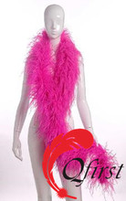 Factory wholesale plume scarf cheap price dyed hot pink curly ostrich feather boas