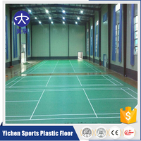 Low-cost synthetic badminton court flooring