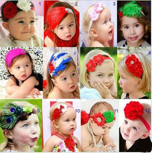 Baby headbands, feather headbands, lovely baby head flower