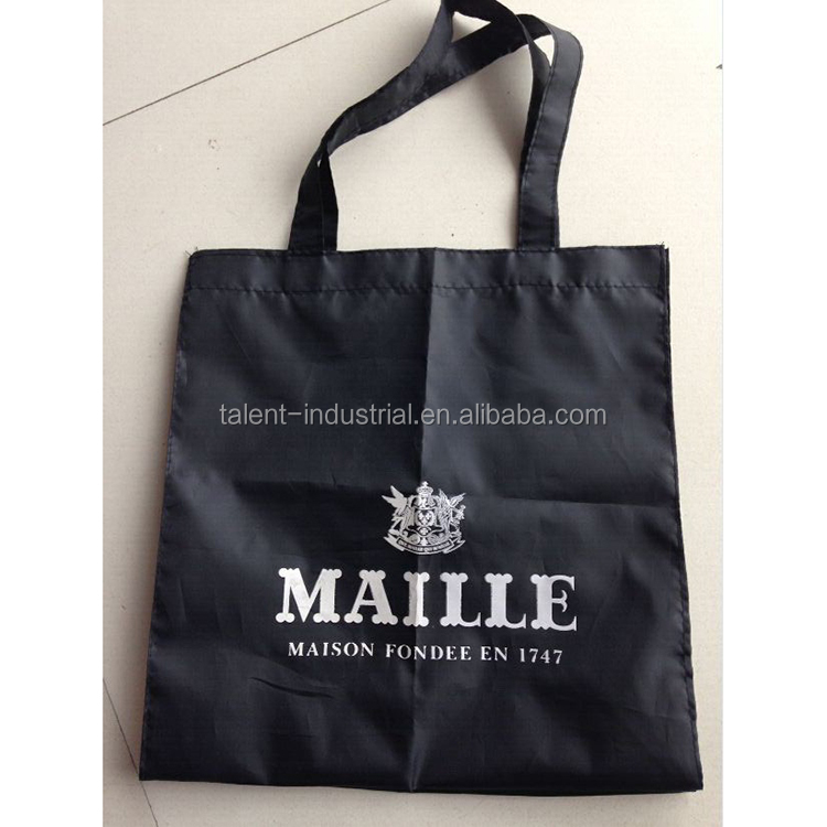Black polyester shopping bag,tesco shopping bags with silk-screen white logo customized