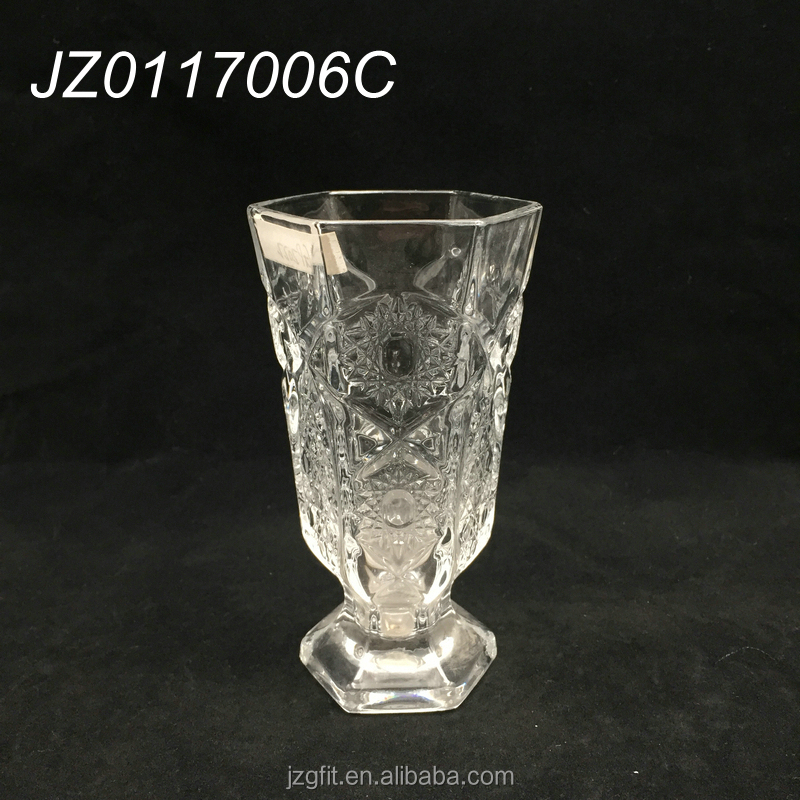 Wholesale sexangular beverage drinking glass, beverage goblet, soft drinking glassware for bar&restaurant