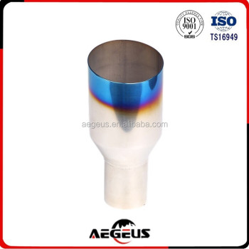 "High quality auto parts Blue Burnt Exhaust Single Layer Slant Tip Polished Stainless 2.5""In 4""Out"