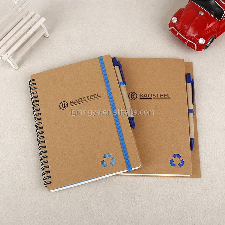 Custimzied A5 size recycled paper spiral notebook with elastic band