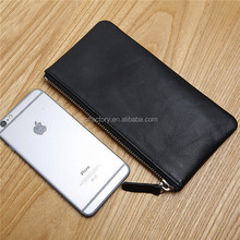 simple business genuine leather men long travel clutch wallet