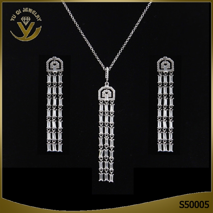 Wholesale fashion jewellery set necklace luxury tassel earing sets high quality rhodium plated jewelry set