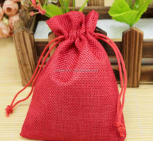 13x18cm Red Color Linen Cotton Drawstring Jewelry Bag Decorative Christmas Gift Pouch