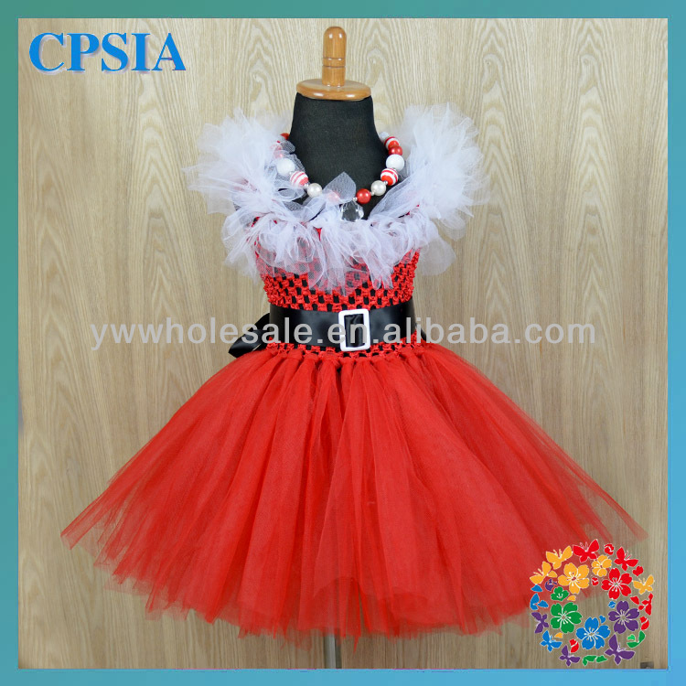 2014 New Arrival Fashion Wholesale Red Tulle Girl Party Tutu Dress With Belt and Necklace Set