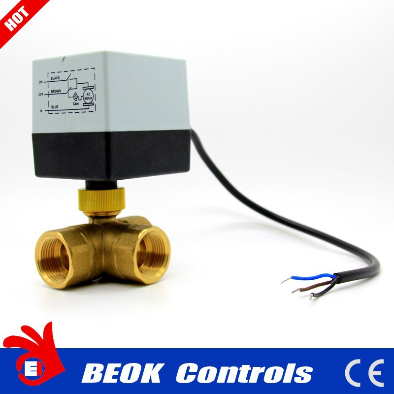 24V/230V 3-way electric motor motorized brass water ball control shut-off actuator valve
