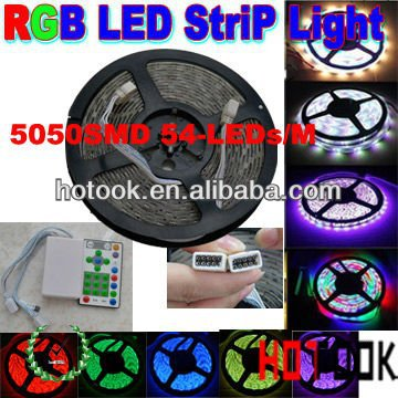 RGB 5m 5050 led strip light 12V 54LEDs/m IP65 Article Scrolling Running Strip Light CE RoHS warranty 2 years