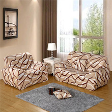 UNIKEA Beige Wave Elastic Sofa Cover Printed Modern Sofa Cover For Sectional Sofa Slipcover Couch Cover Machine Washable