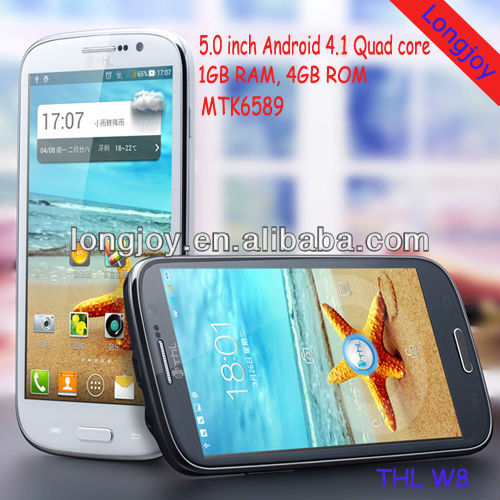 China Brand THL W8 Android phones 1GRAM Quad Core unlocked 5 inch