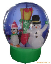 Inflatable Snow globe decoration of snowman and penguin with gift boxes