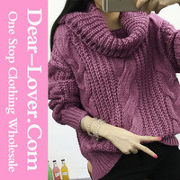 Cheap Women Purple Oversized Cowl Neck Cable Knit Pullover Sweater