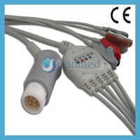 HP MP50 integrated 5 lead ECG cable,12pins