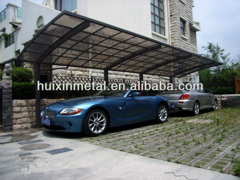 All aluminium solid polycarbonate awning metal two cars canopy