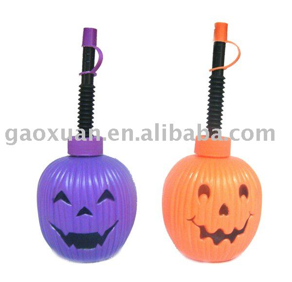 200ML Plastic Drinking Cups with Straw for Halloween Party