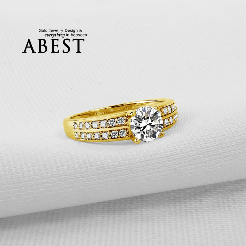 2 Row Shank 10K Gold Yellow Classic Ring Hot Sale Round Sona Synthetic Simulated Diamond Engagement Wedding Ring Jewelry Ring