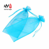 Pure color ribbon double pull design of the organza gift bag