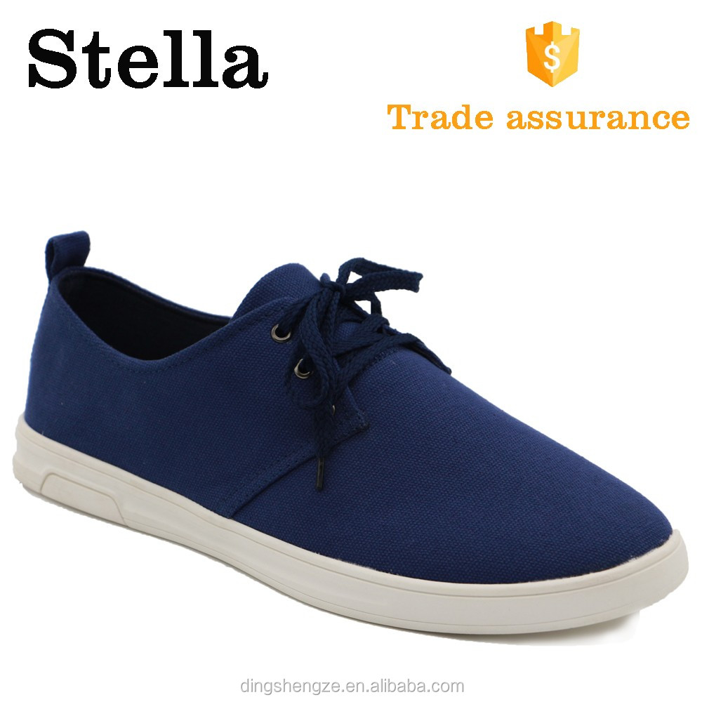 lace up eco navy canvas fabric vulcanized rubber sole shoes men sneakers