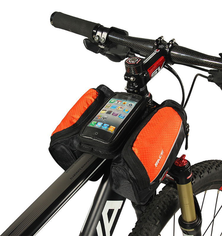 CBR road bike small travel sport bicycle touch screen frame cell phone sling bag