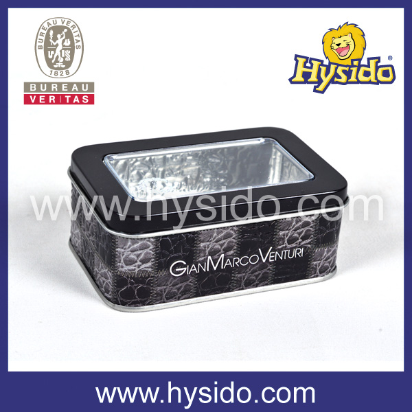 clear lid square tin container
