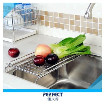 Adjustable stainless steel over sink rack vagetable drain basket
