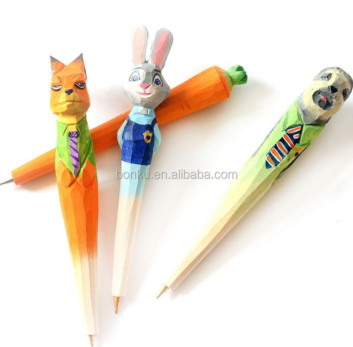 Crazy animals city character of wood promotional pens for student