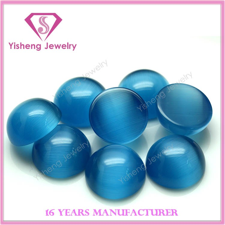 Round Cabochon Cut Aquamarine Synthetic Cat Eye Gem Stone for Rings
