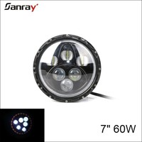 60W Led Work Light High-Low Beam Round Headlight 7 inch Led Driving Light with angle eyes for jeep/suv/atv