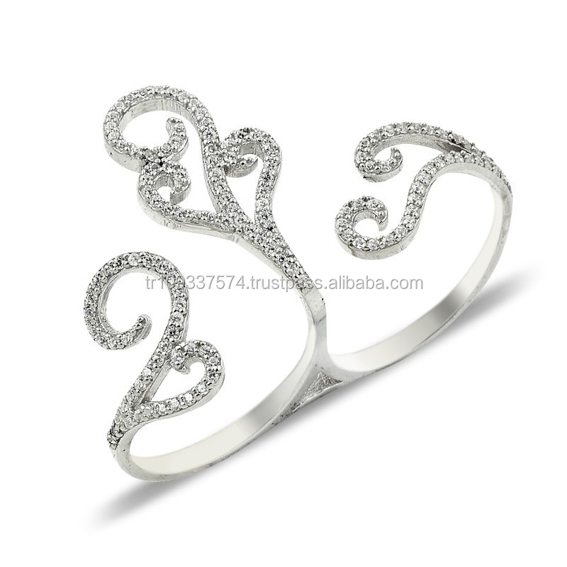 925K Sterling Silver Double Knuckle Ladies Ring