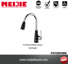 Durable upc stainless steel pull down single handle kitchen sink faucet