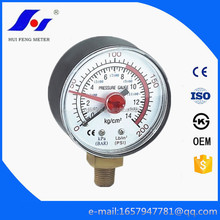 "2"" Low Price Adjustable Red Pointer Black ABS Case Dry 0-200psi/bar Bourdon Tube CNG Pressure Gauge"