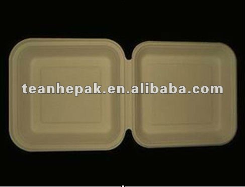disposable biodegradable ecofriendly paper pulp plant fiber wheat straw takeout food container 8 inch large lunch box