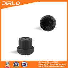 18mm Black color tamper proof plastic cap big head essential oil bottle cap 18/410 plastic screw cap wholesale