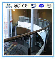 12mm Curved tempered glass emporium Railing glass