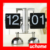 UCHOME Retro Modern Metal Scale Digital Auto Flip Single Stand Desk Table Clock