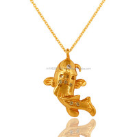 Fish Design Gold Plated Silver Peridot Pendant, Hot Sell Wholesale Price Sterling Silver Pendant
