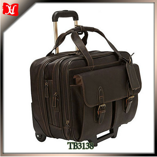 High Quality Branded Genuine Leather Luggage Bags Laptop Travel Trolley Bag