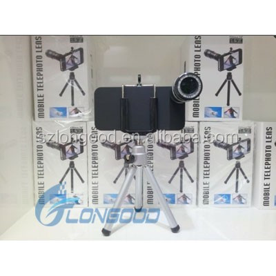 Portable Smartphone Tripod 12X Optical Camera Zoom Lens Mobile Phone Telescope For iPhone 5 5G