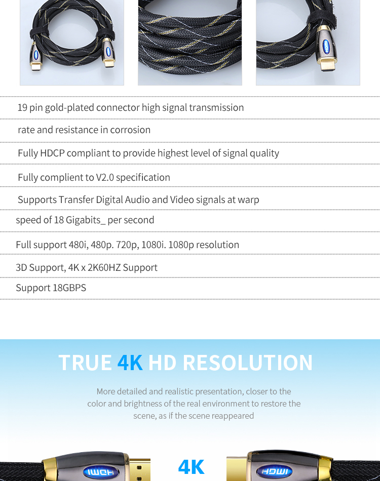 High speed HD version 2.0 cable HDMI 3D Computer TV set-top box 10 meters 4K HDMI cable