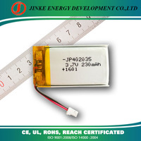 Standard ultracell battery 3.7V 230mah polymer li-ion battery
