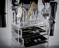 acrylic crystal toner cosmetic display stand in table