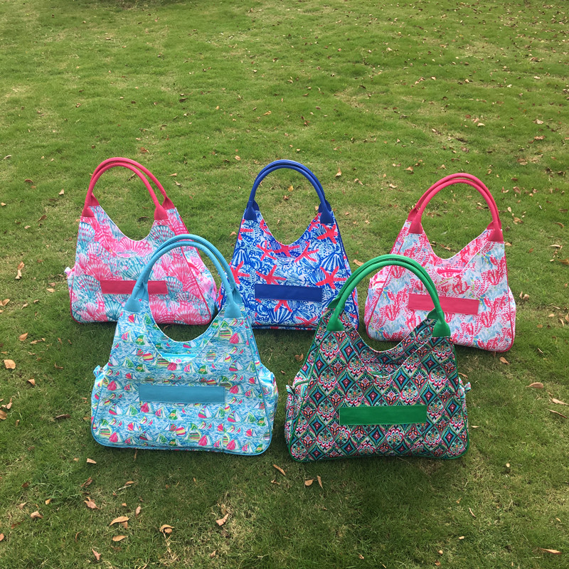 Wholesale Blanks Lilly Pulitzer Inspired Beach Bag Canvas Large Tote Polyester Lilly Design Handbag DOM-108338