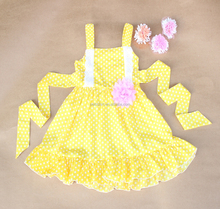 Girls Summer Dress Yellow White Polka Dot Party dress Fashion Design Small Girls Dress