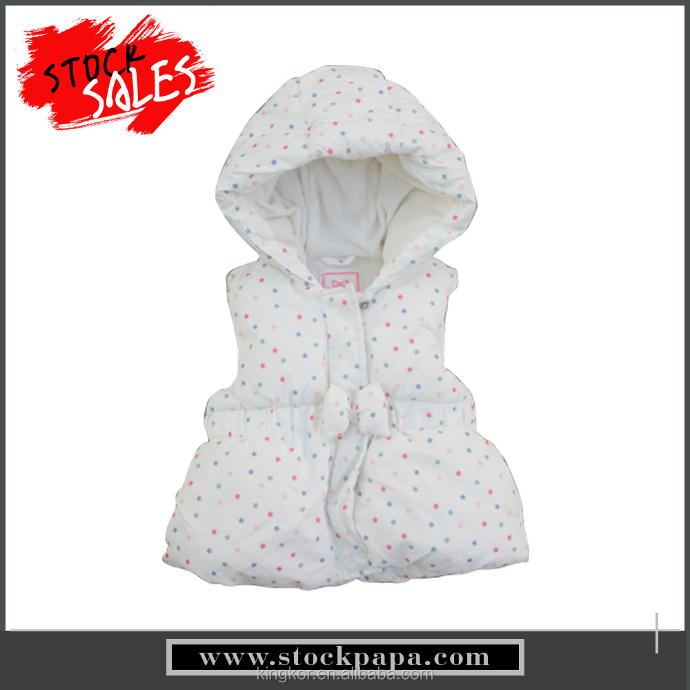 Eco friendly winter children girls sleeveless wave point hoodies coats
