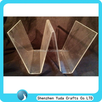 new design W shape plexiglass book holder crystal clear acrylic bookends wholesale