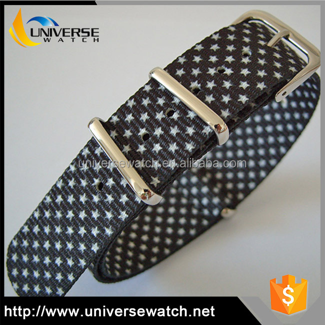 Wholesale custom printed interchangeable nylon webbing nato strap