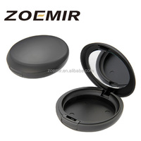 Single layer cosmetic packaging case matte black compact powder case blusher container with mirror