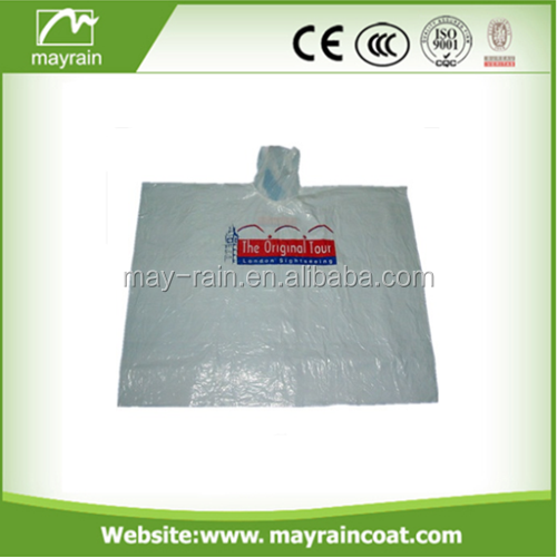 2017 Summer Mayrain Disposable Adults Rain Poncho for Promotion